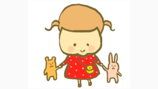 うさぎとクマのぬいぐるみを持つ幼児のイラスト