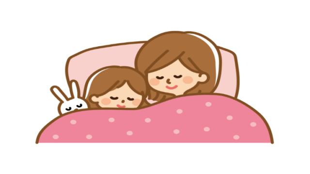 眠る母子のイラスト