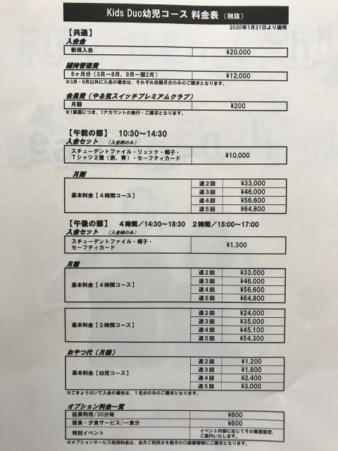 キッズデュオ幼児コース料金表