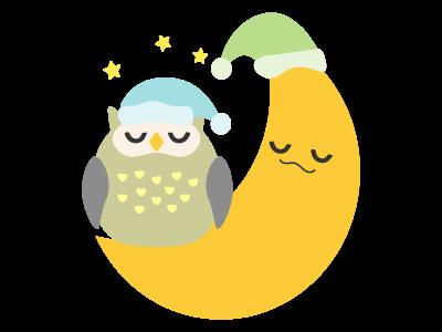 眠る月と梟のイラスト