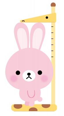 身長を測るうさぎのイラスト